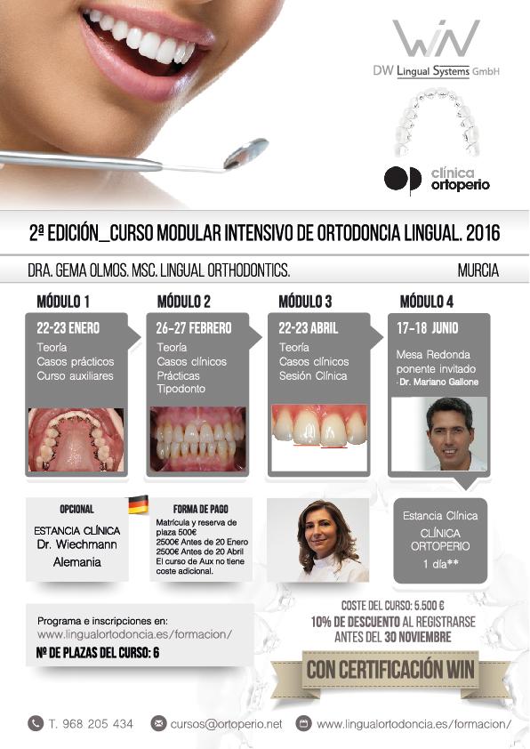 2ª Edición Curso Intensivo de Ortodoncia Lingual. Certificado WIN 1